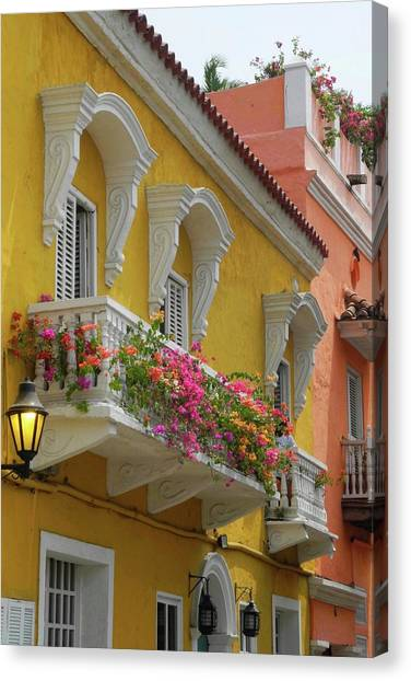 Pretty Dwellings In Old-town Cartagena Canvas Print