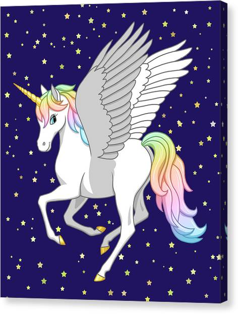 Pegasus Canvas Print - Pretty Rainbow Unicorn Flying Horse by Crista Forest