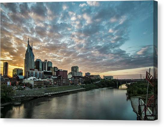 Pretty Sky And Nashville Skyline Canvas Print