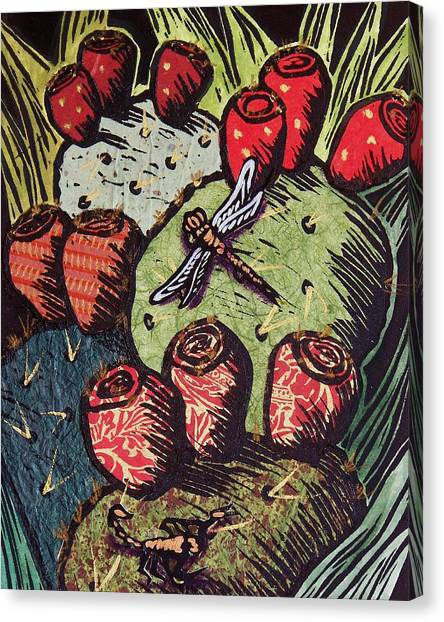Southwest Canvas Print - Prickly Pear by Candy Mayer