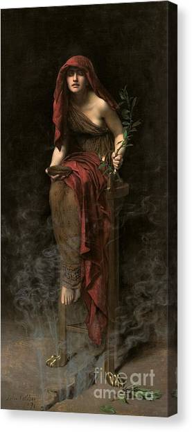 Greek Canvas Print - Priestess Of Delphi by John Collier