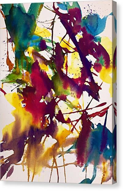 Splashy Art Canvas Print - Primary Splatters Abstract  by Ellen Levinson