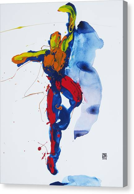 Primary Vertical Jump Shadow Canvas Print
