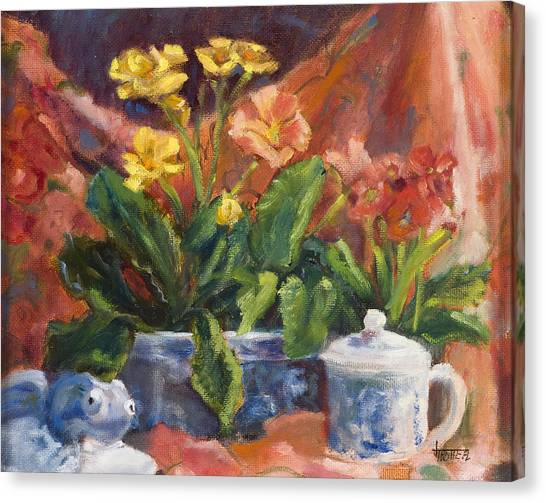 Primroses And Blue China Canvas Print by Jimmie Trotter