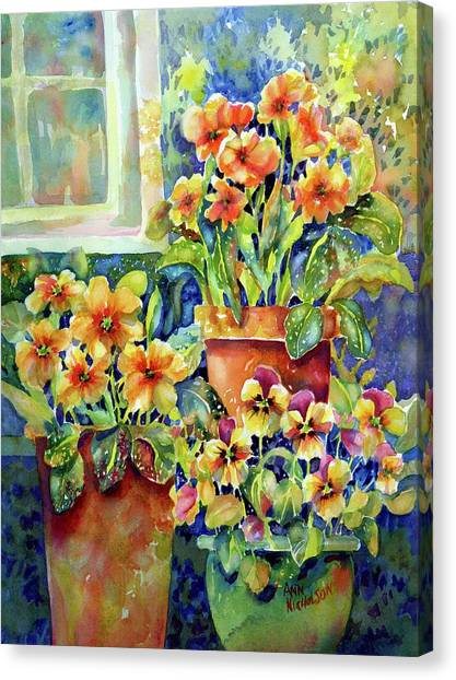 Primroses And Pansies II Canvas Print