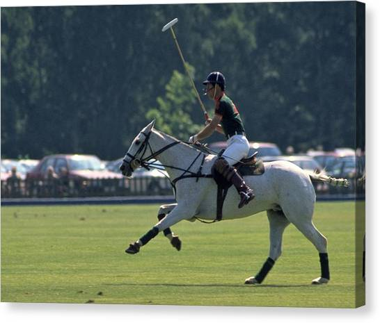 Prince Charles Playing Polo At Windsor Canvas Print