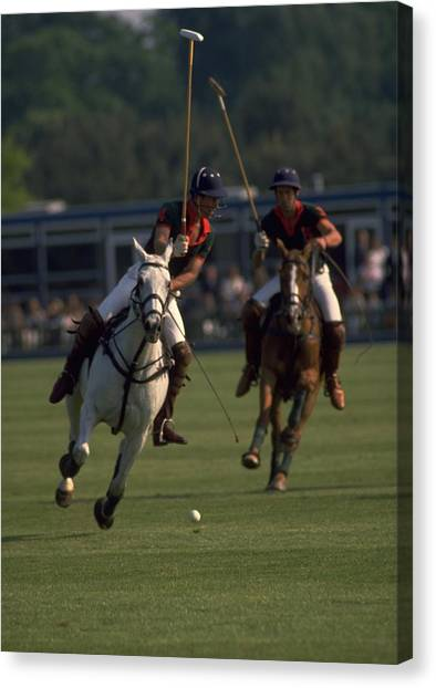 Travelpics Canvas Print - Prince Charles Playing Polo by Travel Pics