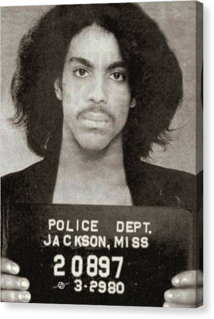 Prince Canvas Print - Prince Mug Shot Vertical by Tony Rubino