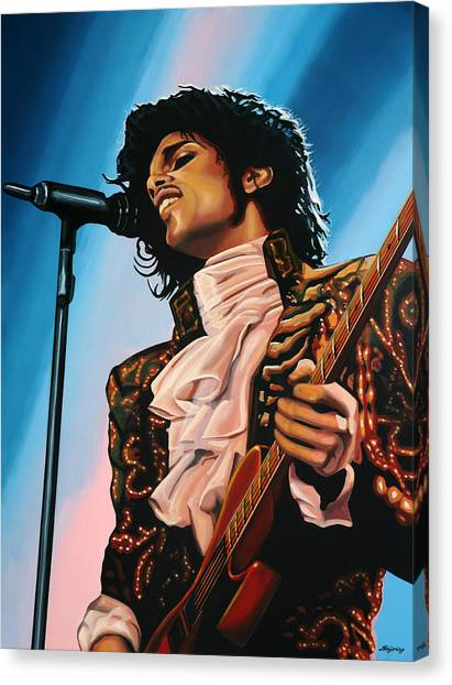 Purple Canvas Print - Prince Painting by Paul Meijering