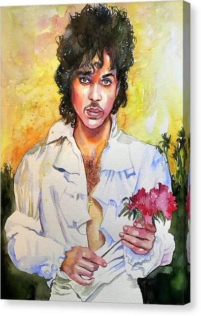 Princes Canvas Print - Prince Rogers Nelson Holding A Rose by Suzann's Art
