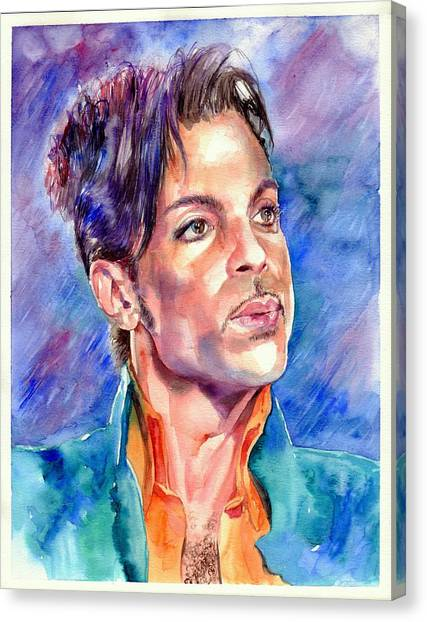 Prince Canvas Print - Prince Rogers Nelson Super Bowl 2007 Portrait by Suzann's Art
