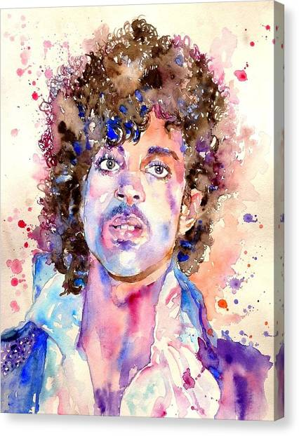 Prince Canvas Print - Prince Rogers Nelson Watercolor by Suzann's Art