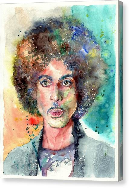 Prince Canvas Print - Prince Rogers Nelson Young Portrait by Suzann's Art