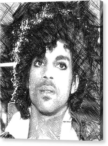 Prince - Tribute Sketch In Black And White 3 Canvas Print