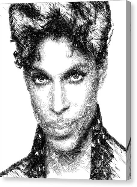 Prince - Tribute Sketch In Black And White Canvas Print