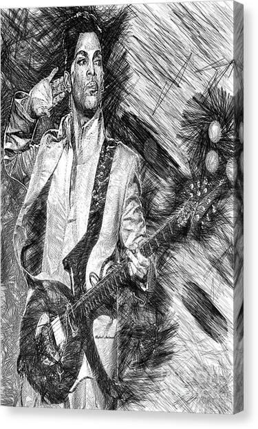 Prince - Tribute With Guitar In Black And White Canvas Print