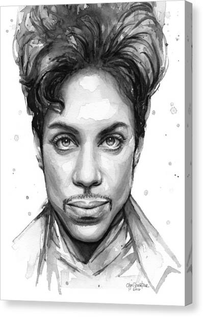 Prince Canvas Print - Prince Watercolor Portrait by Olga Shvartsur