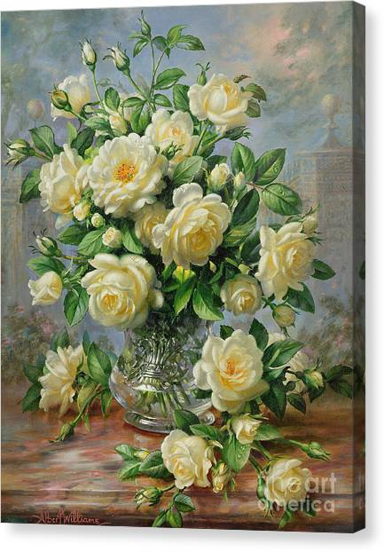 Rose In Bloom Canvas Print - Princess Diana Roses In A Cut Glass Vase by Albert Williams