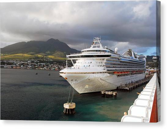Princess Emerald Docked At Barbados Canvas Print