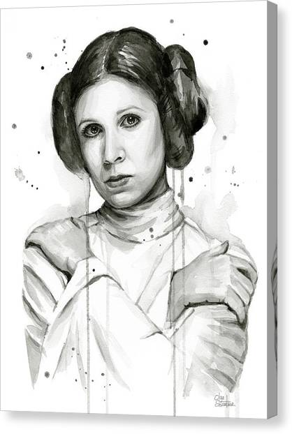 Jedi Canvas Print - Princess Leia Portrait Carrie Fisher Art by Olga Shvartsur