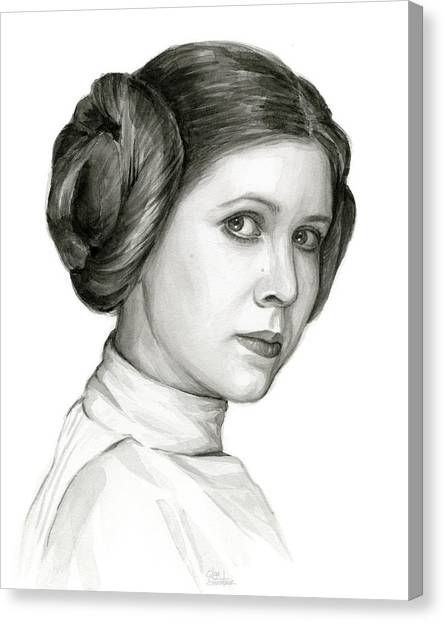 Jedi Canvas Print - Princess Leia Watercolor Portrait by Olga Shvartsur