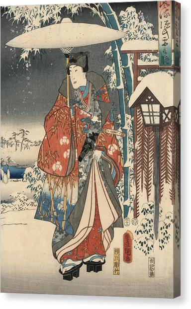 Japanese Umbrella Canvas Print - Print From The Tale Of Genji by Kunisada and Hiroshige