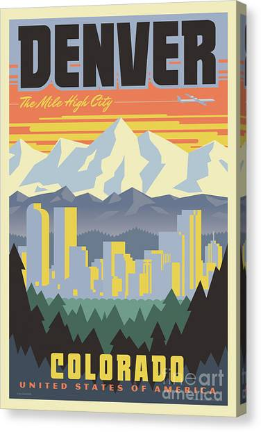Colorado Rockies Canvas Print - Denver Retro Travel Poster by Jim Zahniser