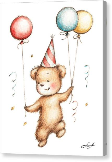 Birthday Gift Canvas Print - Print Of Teddy Bear With Balloons by Anna Abramska