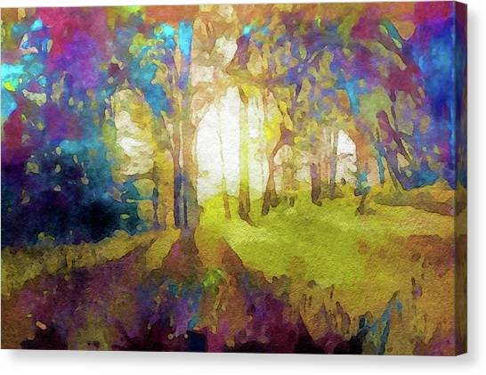 Canvas Print featuring the painting Prismatic Forest by Susan Maxwell Schmidt