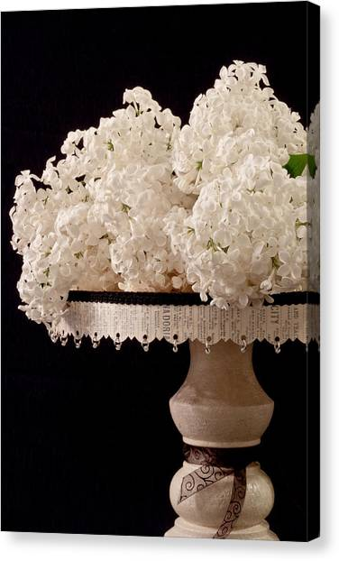 Pristine Lilacs On A Music Pedestal Canvas Print