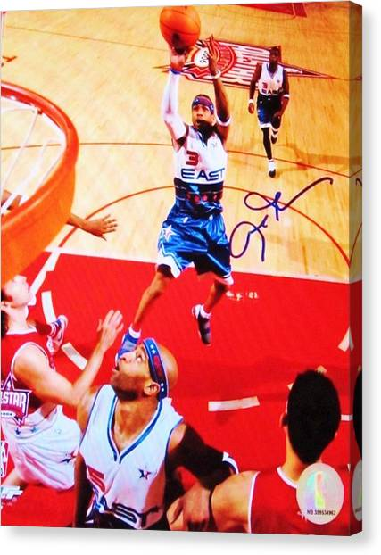 Memphis Grizzlies Canvas Print - Pro Basketball Player #3 Guard Allen Iverson by Donna Wilson