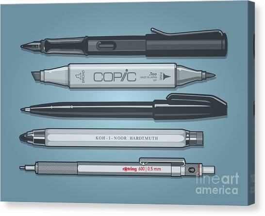 Planet Canvas Print - Pro Pens by Monkey Crisis On Mars