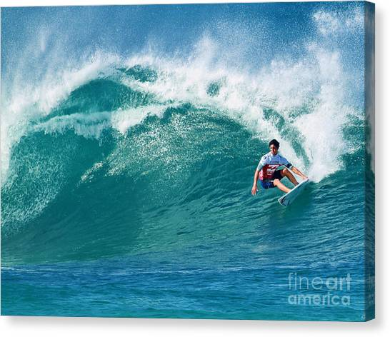 Pro Surfer Gabriel Medina Surfing In The Pipeline Masters Contes Canvas Print