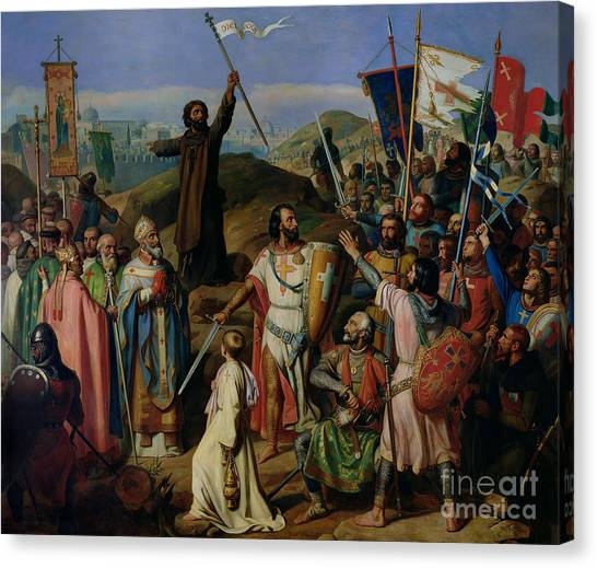 Jerusalem Canvas Print - Procession Of Crusaders Around Jerusalem by Jean Victor Schnetz