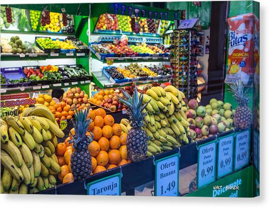 Produce Stand Canvas Print - Producing Color by Walt  Baker