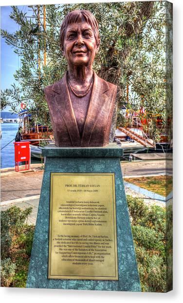 Womens Rights Canvas Print - Professor Turkan Saylan Statue by David Pyatt