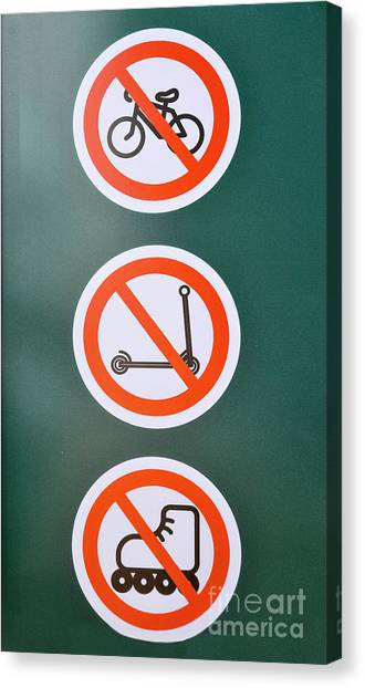 Rollerblading Canvas Print - Prohibiting Signs No Bicycles by Shay Levy