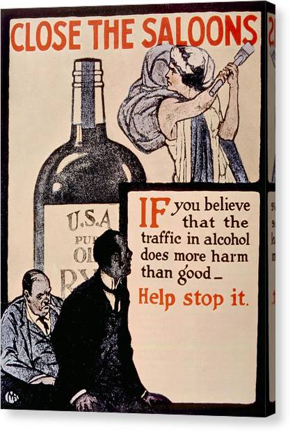 Jt History Canvas Print - Prohibition Poster, 1918 by Everett
