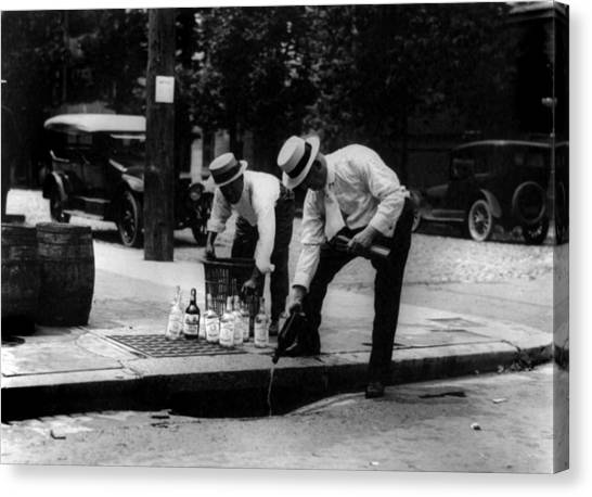 Whiskey Canvas Print - Prohibition, Pouring Whiskey by Everett