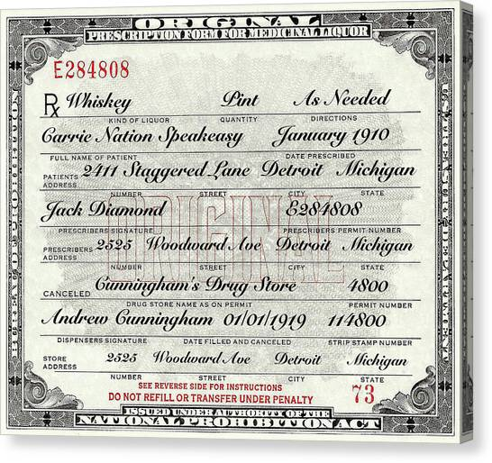 Craft Beer Canvas Print - Prohibition Prescription Certificate Carrie Nation Speakeasy by David Patterson