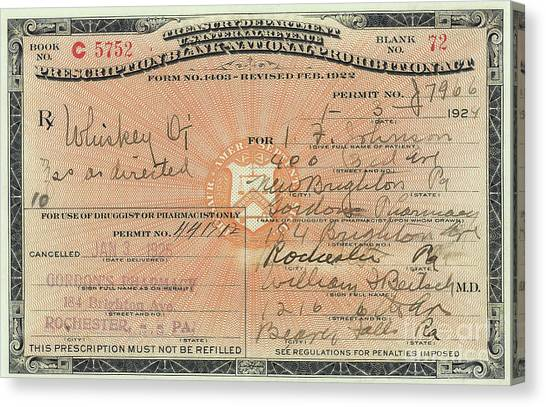 Distillery Canvas Print - Prohibition Prescription For Whiskey by Jon Neidert