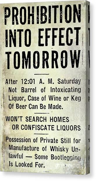 Vodka Canvas Print - Prohibition Sign by Jon Neidert