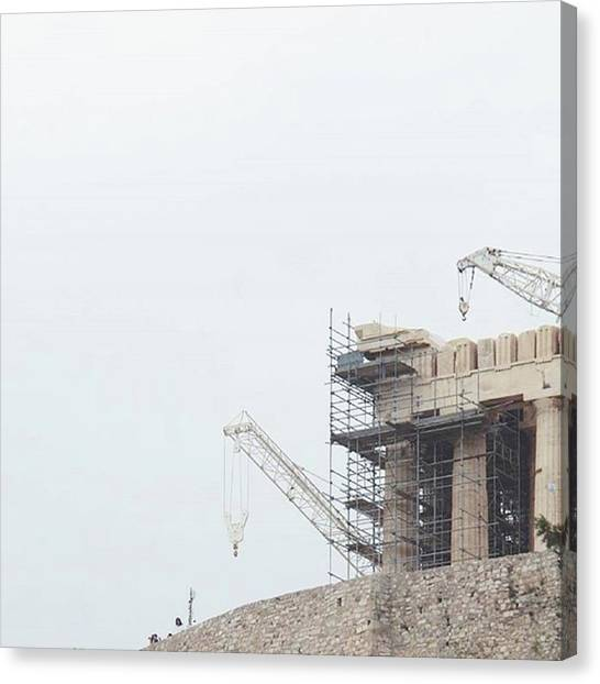 The Acropolis Canvas Print - Propylaea #cranes #on #the by Vas Houl