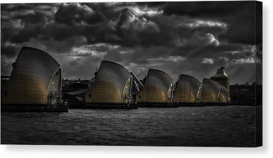 Flood Canvas Print - Protecting The City by Nigel Jones