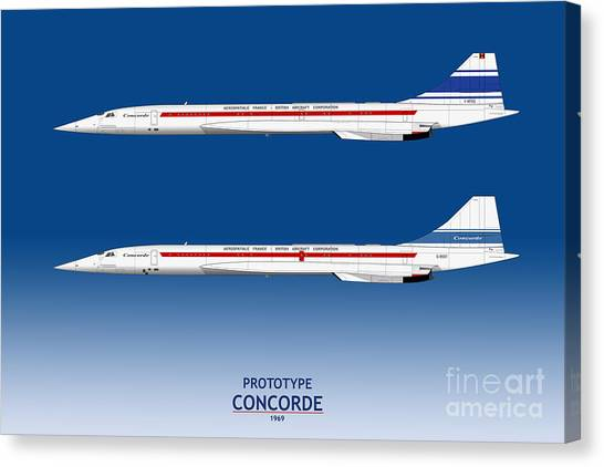 Airplane blueprint canvas prints page 16 of 19 fine art america airplane blueprint canvas print prototype concordes 001 and 002 by steve h clark photography malvernweather Images