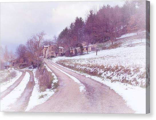 Provencal Village In Snow Canvas Print