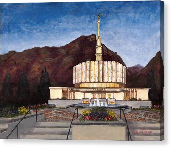 Temple Canvas Print - Provo Temple by Jeff Brimley