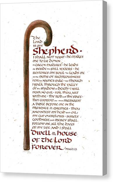 Old Testament Canvas Print - Psalm 23 by Judy Dodds