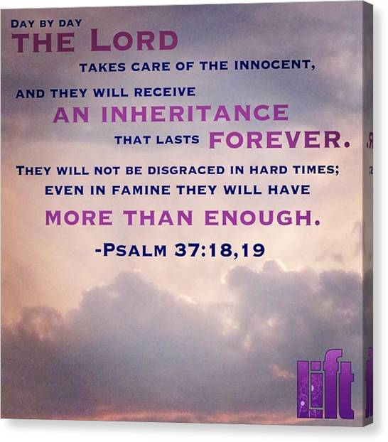 Innocent Canvas Print - Psalm 37:18-22 Day By Day The #lord by LIFT Women's Ministry designs --by Julie Hurttgam