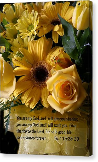 Psalms One Hundred Eighteen Twenty Eight With Yellow Bouquet Canvas Print